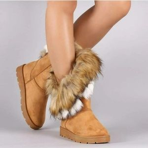 Shoes - New Camel Mid Calf Furry Winter Boots